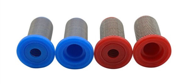 Spray tip strainer for agricultural pesticide dispenser